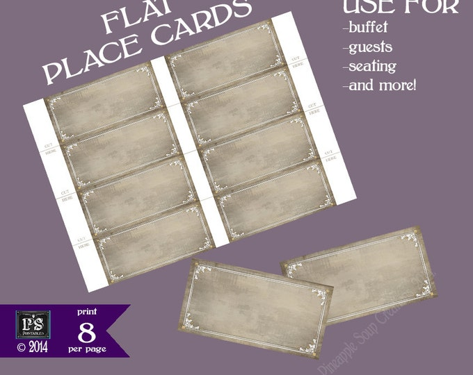 """Printable place cards - 2x4"""" BLANK flat Placecards for you to WRITE in your guests of buffet items - print 8 per page - Old Lace Collection"""