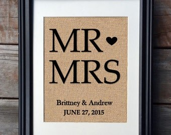Burlap Wedding Gift | Monogram Print | Rustic Home Decor| Mr. and Mrs. Wedding Burlap Print | Gift for Couple | Anniversary Gift
