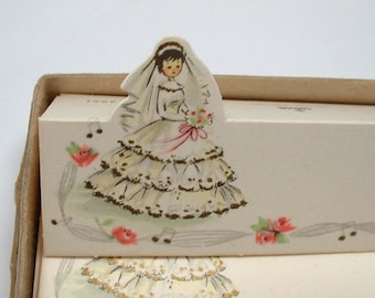 Adorable Vintage 1950's Paper Wedding Place Cards by Gibson