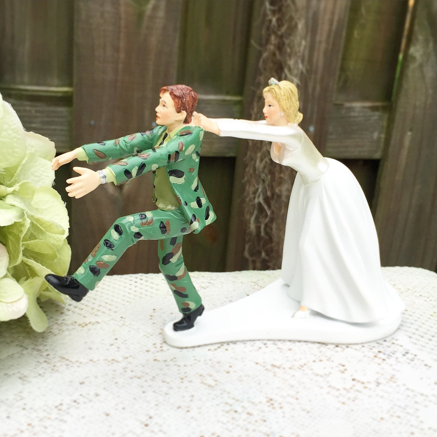 Funny Army Wedding Cake Toppers Military Topper Humorous Runaway Fleeing