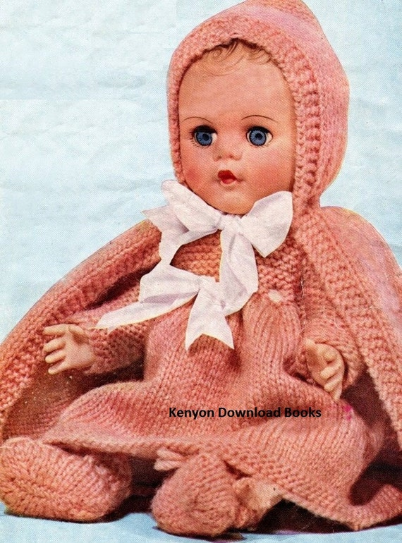 Knitting Patterns For Dolls Clothes 12 Inch : Instant Knitting Pattern DOLL CLOTHES 3 Sizes 12 14 16