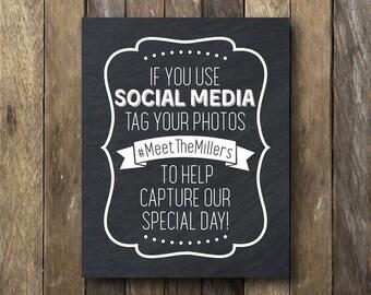 Social Media Wedding Sign - If You Use Social Media - Wedding Hashtag Sign - Printable Wedding Sign - Printable Wedding Hashtag