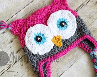 Crochet Owl Hat, Baby Hot Pink Gray Owl Beanie Girls Owl Hot Pink Gray Turquoise Owl Hat Newborn Baby Owl Hat Toddler Baby Owl Hat