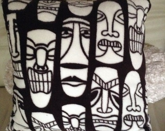 "Tiki man Decorative Pillow Cover ; Dark brown & White Throw Pillow 18""x18""; Pillow slip with insert; Cham Handmade Home Décor Cushion Cover"