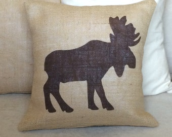 Moose Burlap Pillow  - Rustic,Gifts For Him,Man Cave,Fathers Day,Antler Pillow - Cabin decor Cover