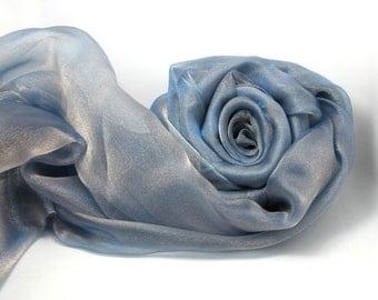 1 Yard 57 Inches Organza Fabric|Silver Blue|Shiny Sparkle Decorative Fabric|Event Home Decor