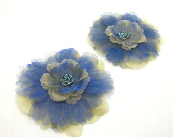 Chiffon Petal Layered Handmade Flowers With Crystal Center Flower|Add Brooch Pin|Flat Back|Hair Flower Supplies|Prom Wedding Flower Decor
