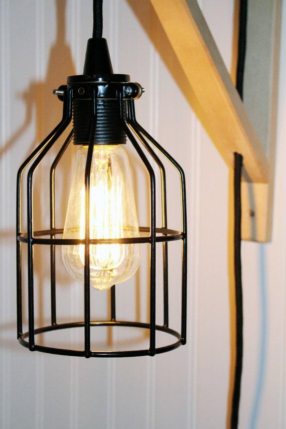 support bois naturel industriel dapplique murale avec cage en. Black Bedroom Furniture Sets. Home Design Ideas
