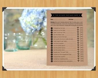 Printable 'He Said, She Said' Bridal Shower Game, DIY, Instant Download, Printable PDF, Black and White