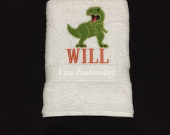 Personalized Kids Bath Towel with T-Rex applique and name