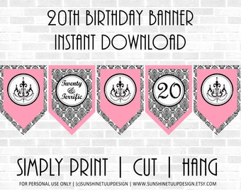 20th Birthday Banner Black and Pink by SUNSHINETULIPDESIGN