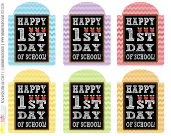 Teacher Appreciation Happy 1st Day Printable Gift Tags by SUNSHINETULIPDESIGN