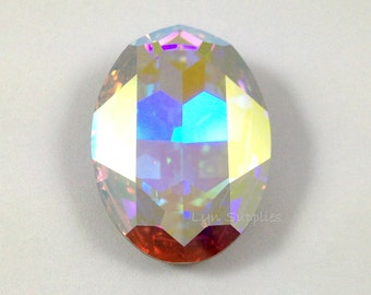 4127 CRYSTAL AB 30x22mm Swarovski Crystal Oval Faceted Fancy Stone No Hole