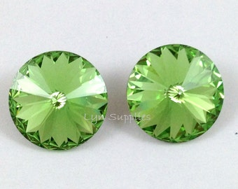 1122 PERIDOT 12mm 6pcs Swarovski Crystal Round Rivoli - Light Green, August Birthstone