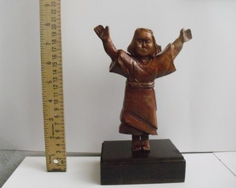 Holy kid religious carved wood statue