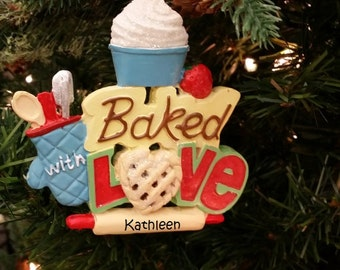 Custom Baker Ornament, Cute Baked With Love Ornament, Custom Baking Ornament
