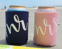 Mr and Mrs Can Cooler Set, Beverage Insulator, Custom Can Cooler, Beach Beer Holder, Drink Holder, Honeymoon Gift, Honeymoon