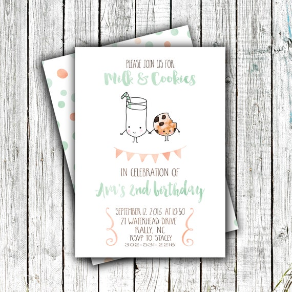 Birthday Party Invitation, Milk and Cookies, Modern, Watercolor, Mint and Coral,4x6 or 5x7 #22
