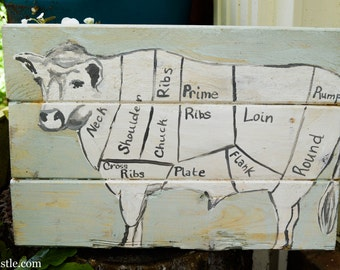 Reclaimed wood sign with a hand-painted cow butcher chart.