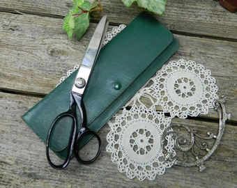 Vintage Wiss Dressmaking Tailor Pinking Shears Scissors Green Leather Case