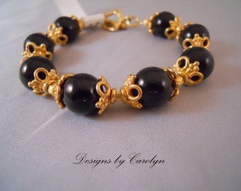 Black Onyx and 22K over Copper Bracelet CSS109BO-B
