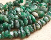"1. Strand 16"" Real Emerald Rough Beads ""Polished"" 4 MM Approx Finest AAA Quality 100% Natural Wholesale Price New Arrival"