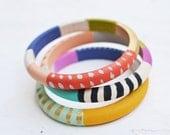Skinny Handpainted Wooden Bangles - Red/B&W Stripe - Set of 3