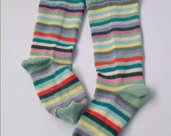 English garden mint pink lilac multi stripe all cotton knitted slouch socks womens size M (UK 4 - 6)