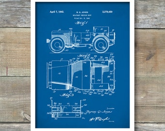 Willys Jeep Patent Print, Willy's Jeep Patent Wall Art Poster, Military Vehicle Army Home Décor, Jeep Art Print, Soldier Gift Idea P124