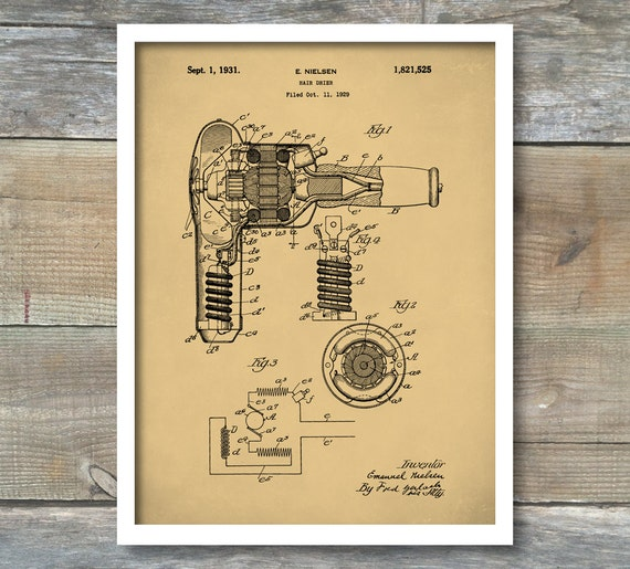 Hair dryer patent hair dryer poster hair dryer print hair like this item malvernweather Image collections
