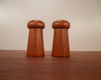 Teak Salt and Pepper, Mid century wood Salt and Pepper shakers