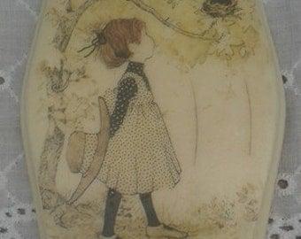 Holly Hobbie porcelain plaque