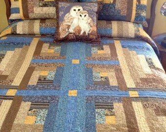 Patchwork quilt Bold Beautiful  Stone and Water handmade large Queen size Log Cabin Patchwork quilt
