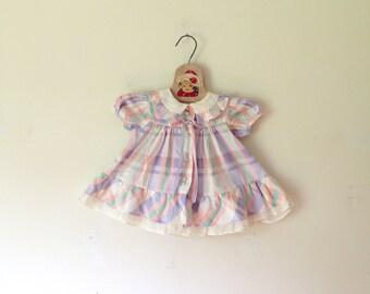 Vintage Pastel Plaid Dress (Size 6 Months)