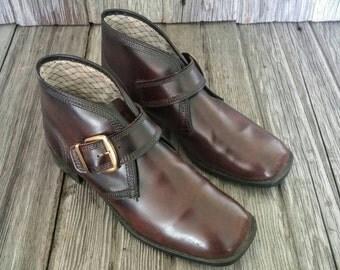 Vintage JB Man's Brown Leather Side Buckle Monk Shoes