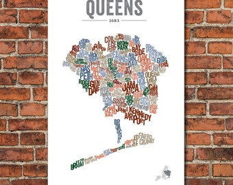The Boroughs of New York City Series – Queens, Art Print
