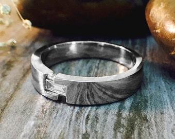 Mens Wedding Band   Baguette Diamond   14K White Gold Ring   4.5MM Band   Diamond Wedding Band   Solid Gold   Fine Jewelry   Free Shipping