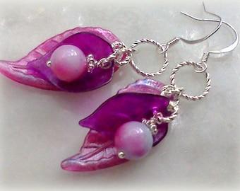 Leaf Earrings, Bridal Earrings, Painted Earrings, Handmade Earrings, Lucite Earrings, Purple Earrings, Marbled Earrings, Pink and Purple