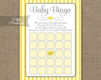 Yellow Baby Shower Bingo Game - Yellow Gray Baby Shower Game - Yellow Silver Neutral Baby Bingo Cards - Printable Instant Download - YGL