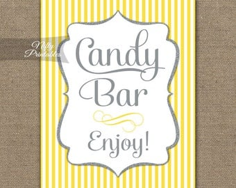 Candy Bar Sign - Yellow Silver Candy Buffet - Yellow Gray Printable Candy Bar Table Signs - Wedding Signs Baby Bridal Shower Candy Sign YGL