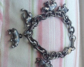 African Animals Charm Bracelet, Pewter, Strong and sturdy,small