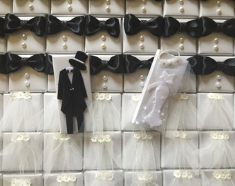 Featured on Emmalinebride.com!!! Unique Wedding Favor Bride and Groom Wedding Favors, Wedding Veil Favors, Tuxedo Groom Favors Chocolates