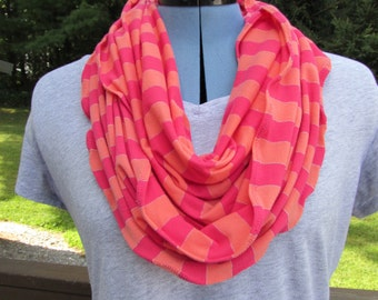Infinity scarf sale 7.99 Orange, pink, and gold stripe infinity scarf