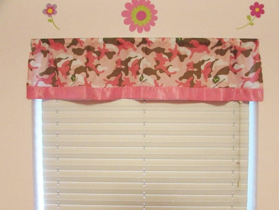 Pink camouflage curtains/cotton valance