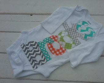 boys Personalized appliqued baby name onesie baby shower gift- green, gray, and teal applique name onesie