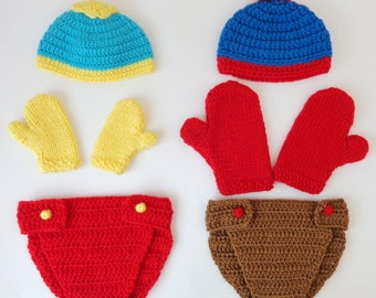 South Park Costume -  Hat And Diaper Cover With  Mittens Or Gloves -Eric Cartman, Stan Marsh, Kyle Broflovski / Cosplay