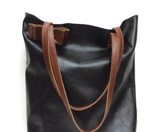Black and brown leather tote bag // Simple market tote bag // black distressed leather