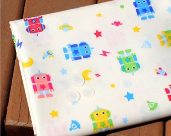 Waterproof Cotton Blend Fabric Robot Ivory By The Yard