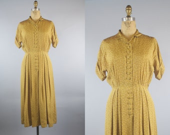 Atomic Gold Dress / 40s Dress / 1940s Silk Dress