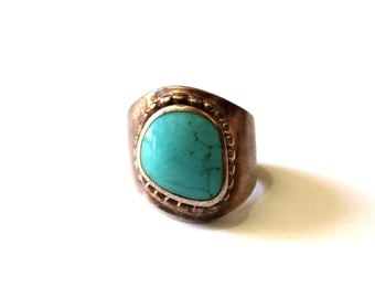 Sterling Silver and Turquoise Wide Band Ring - Vintage - Size 6